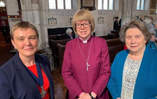 Cath Comley, The Bishop of London, and Trudy Wood following the service at St Dunstan's 13th April 2019